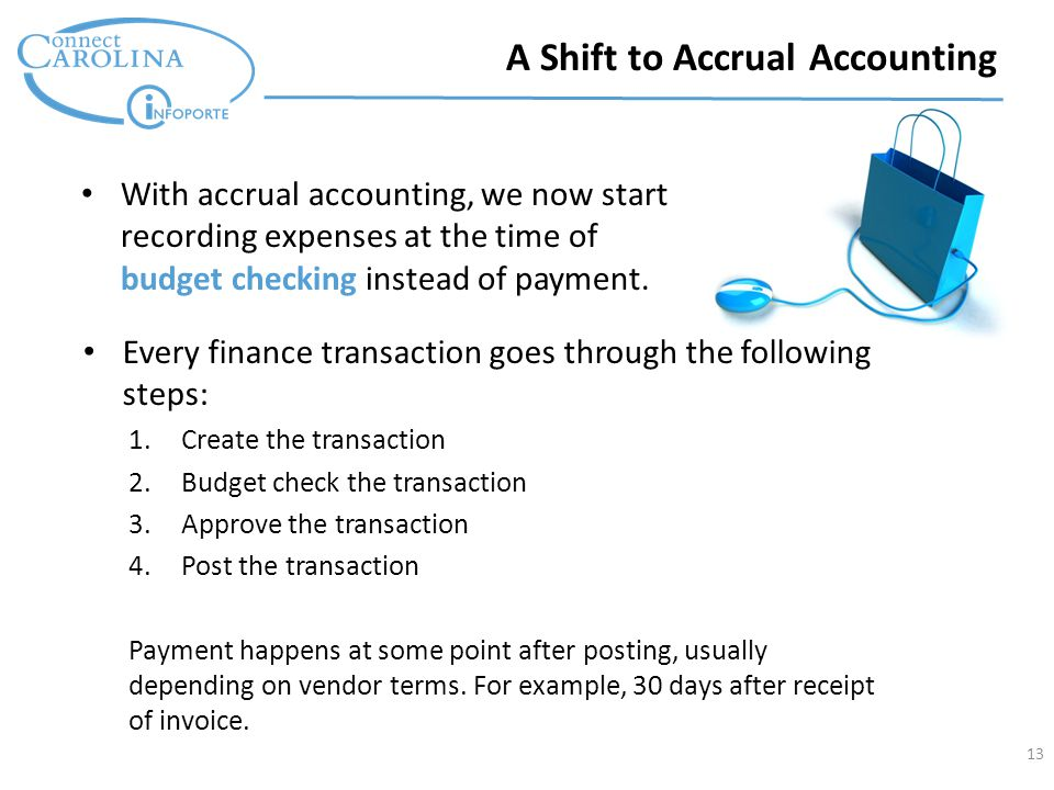 13 With accrual accounting, we now start recording expenses at the time of budget checking instead of payment.