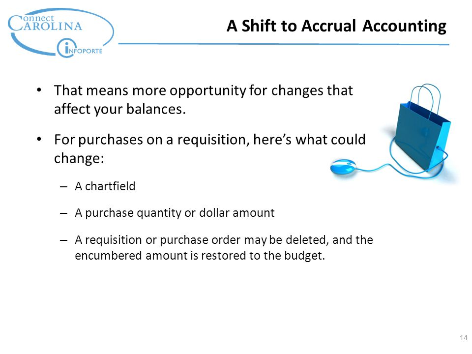 14 A Shift to Accrual Accounting That means more opportunity for changes that affect your balances.