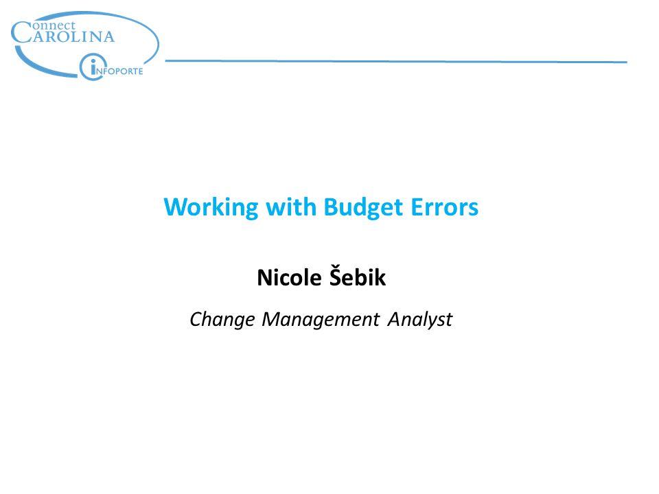 Working with Budget Errors Nicole Šebik Change Management Analyst