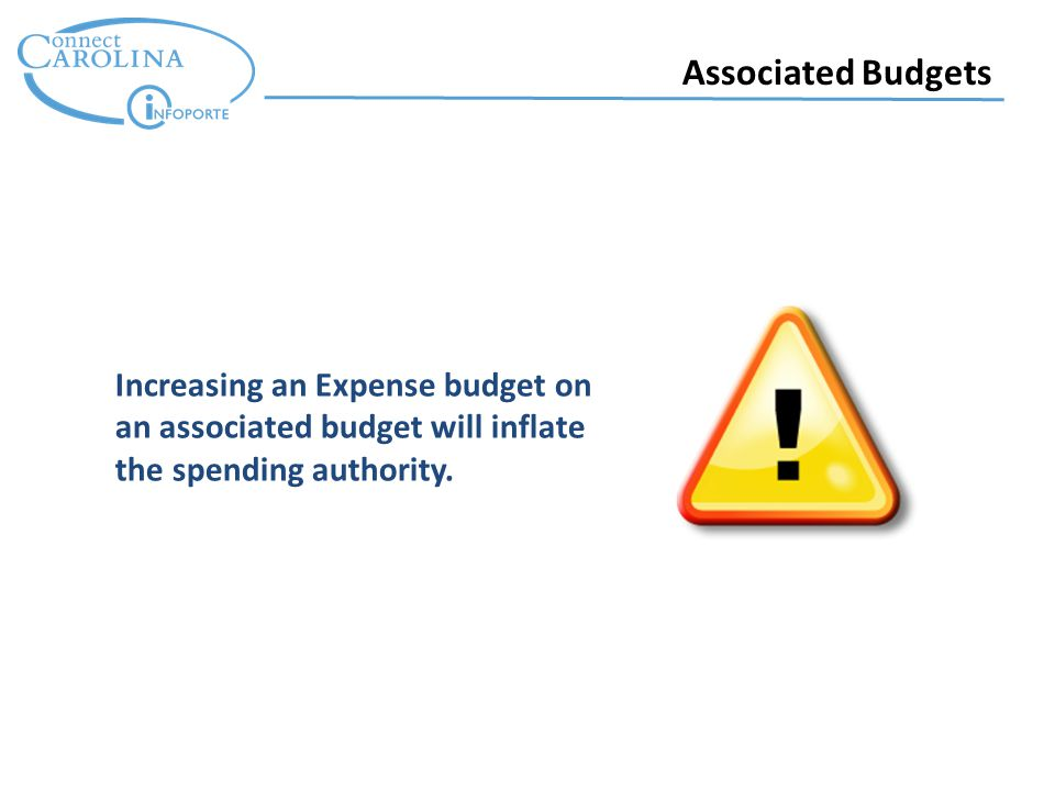 Associated Budgets Increasing an Expense budget on an associated budget will inflate the spending authority.