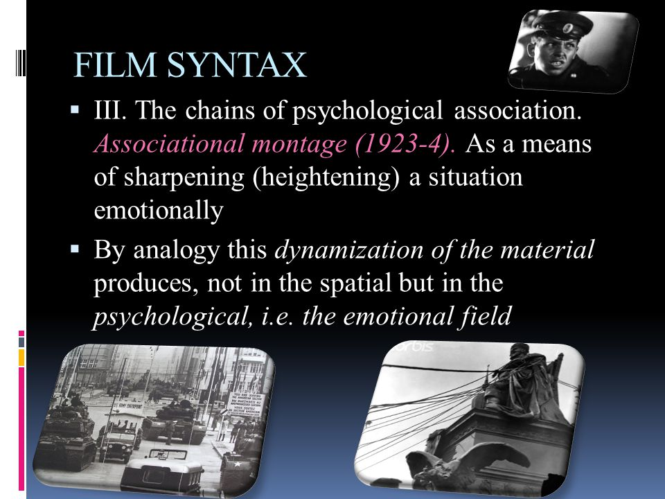  III. The chains of psychological association. Associational montage (1923-4).