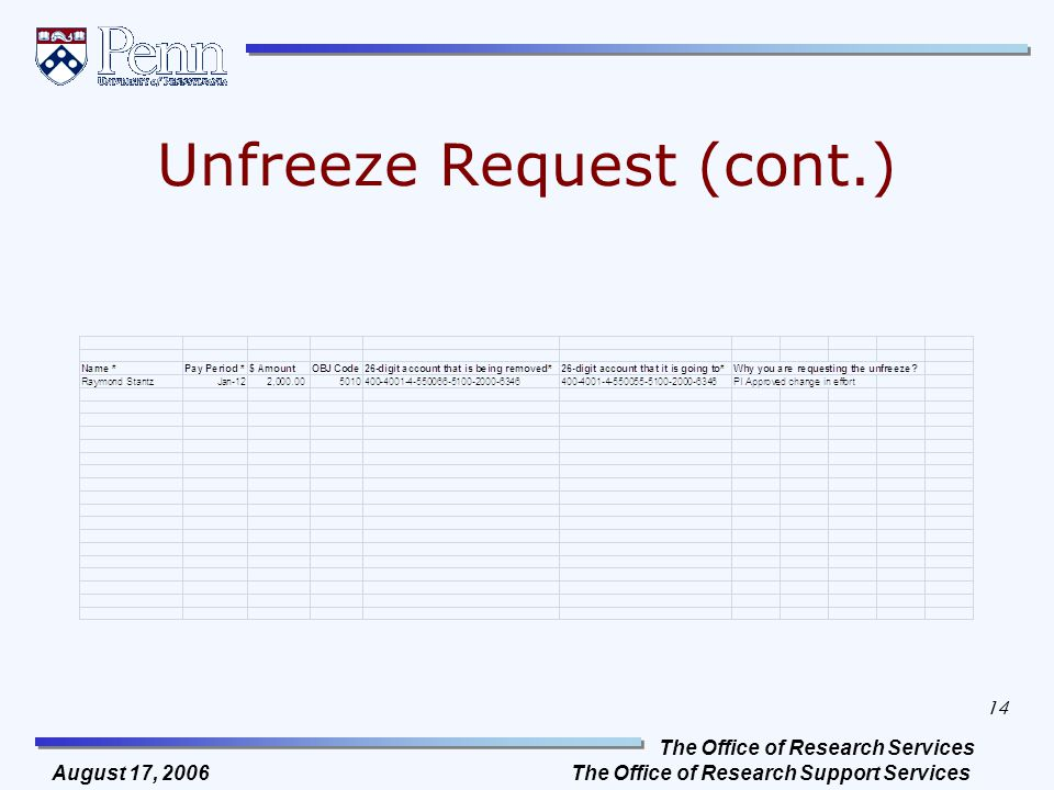 The Office of Research Services The Office of Research Support Services 14 August 17, 2006 Unfreeze Request (cont.)