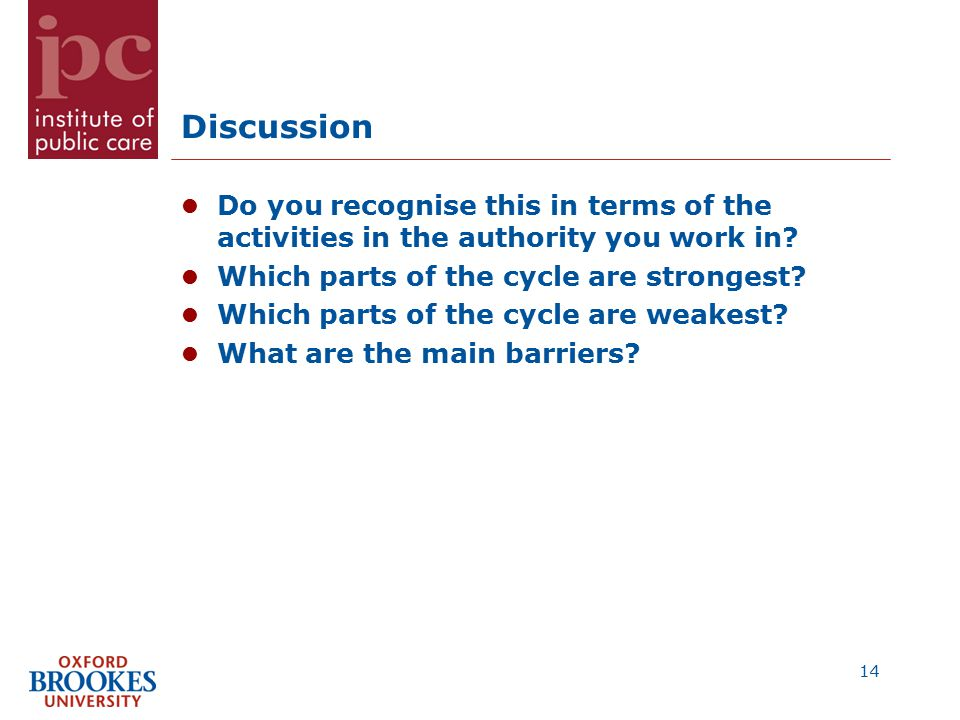 Discussion Do you recognise this in terms of the activities in the authority you work in.
