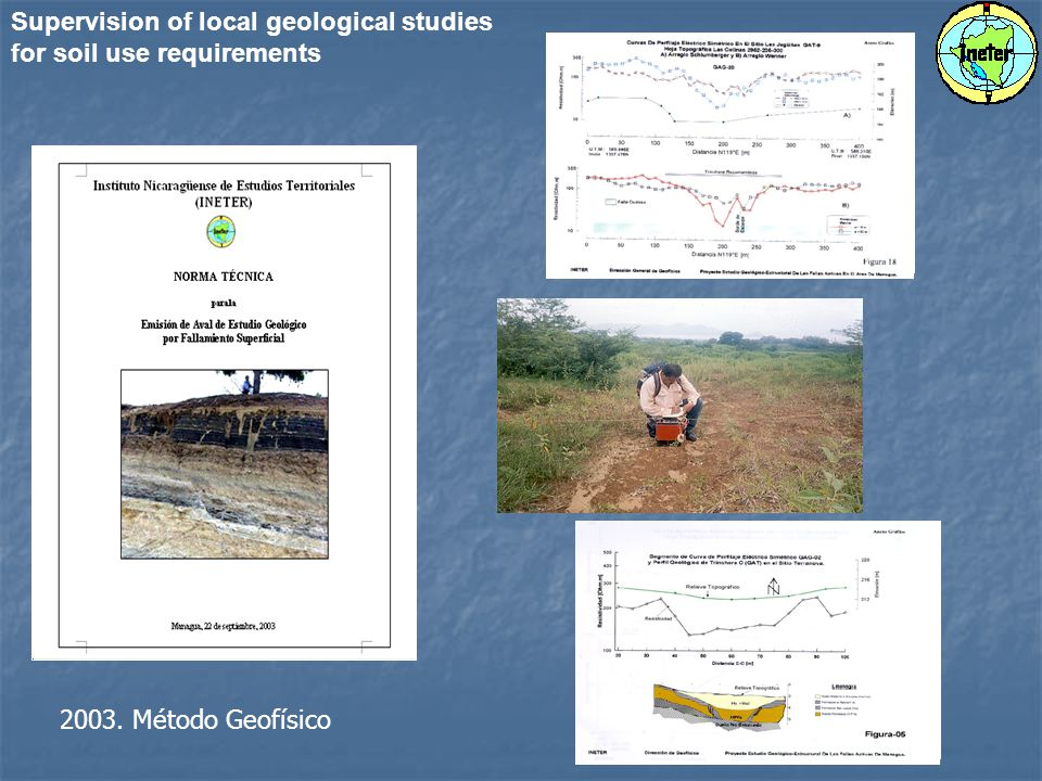 Supervision of local geological studies for soil use requirements 2003. Método Geofísico