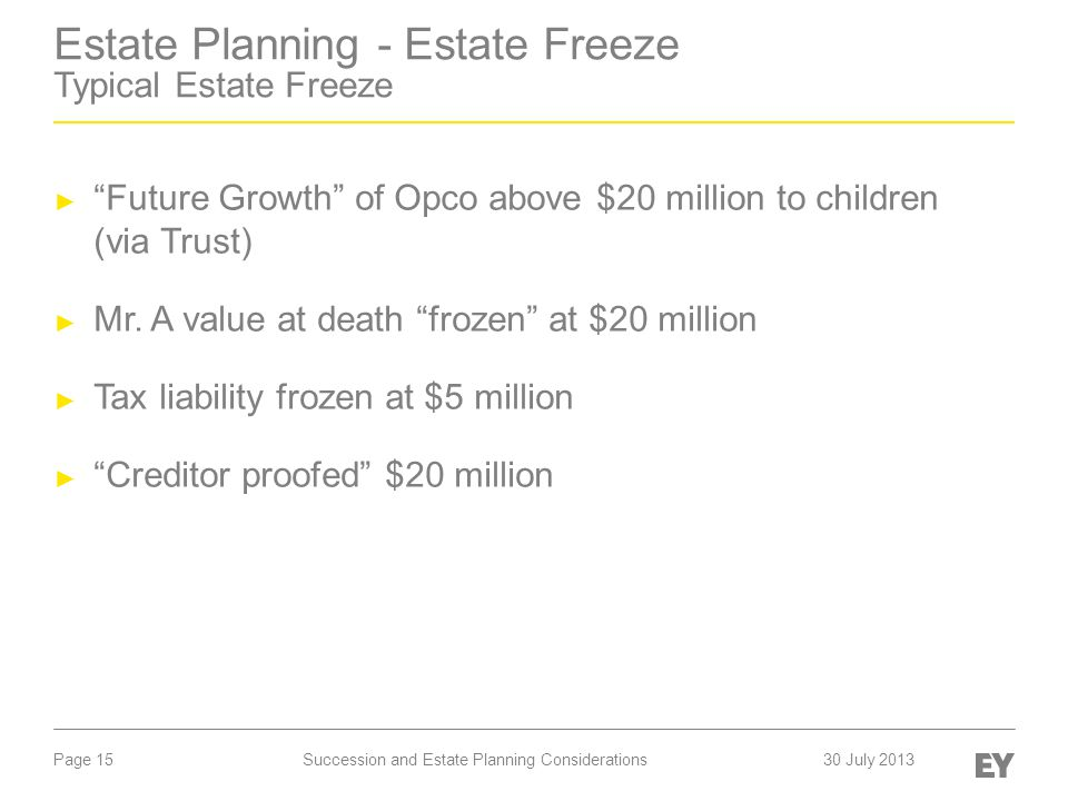 "Page 15 Estate Planning - Estate Freeze Typical Estate Freeze ► ""Future Growth"" of Opco above $20 million to children (via Trust) ► Mr. A value at dea"
