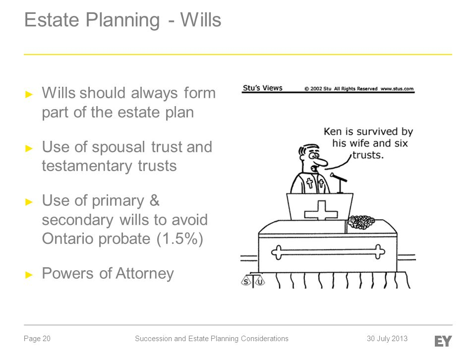 Page 20 Estate Planning - Wills ► Wills should always form part of the estate plan ► Use of spousal trust and testamentary trusts ► Use of primary & s