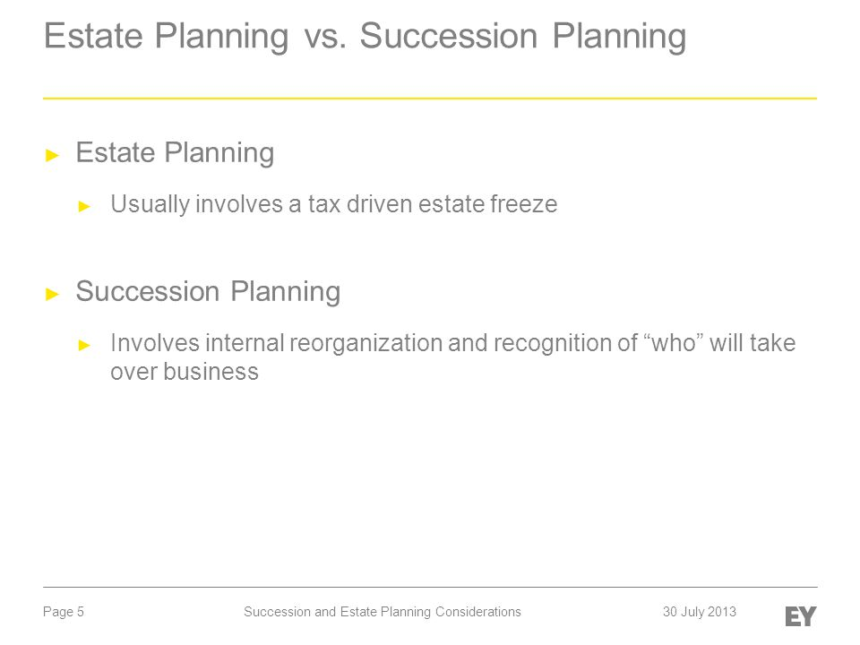 Page 5 Estate Planning vs. Succession Planning ► Estate Planning ► Usually involves a tax driven estate freeze ► Succession Planning ► Involves intern