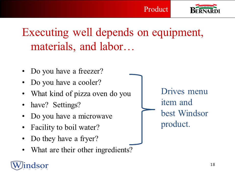 Executing well depends on equipment, materials, and labor… Do you have a freezer.