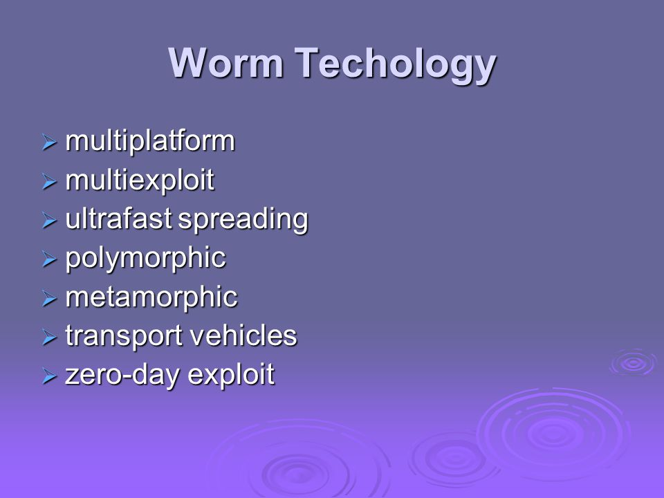 Worm Techology  multiplatform  multiexploit  ultrafast spreading  polymorphic  metamorphic  transport vehicles  zero-day exploit