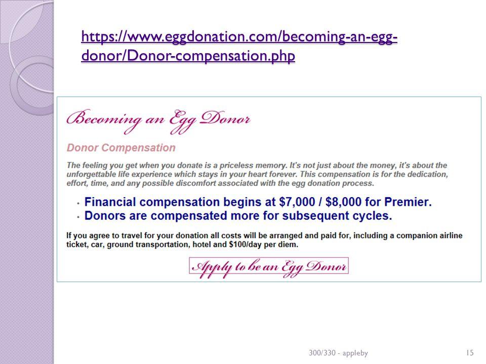 https://www.eggdonation.com/becoming-an-egg- donor/Donor-compensation.php https://www.eggdonation.com/becoming-an-egg- donor/Donor-compensation.php 300/330 - appleby15