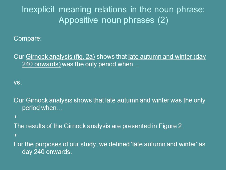 Inexplicit meaning relations in the noun phrase: Appositive noun phrases (2) Compare: Our Girnock analysis (fig.