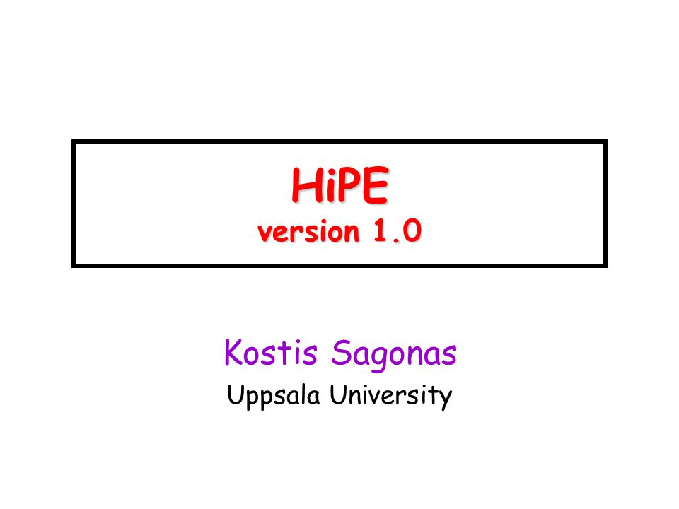 HiPE version 1.0 Kostis Sagonas Uppsala University