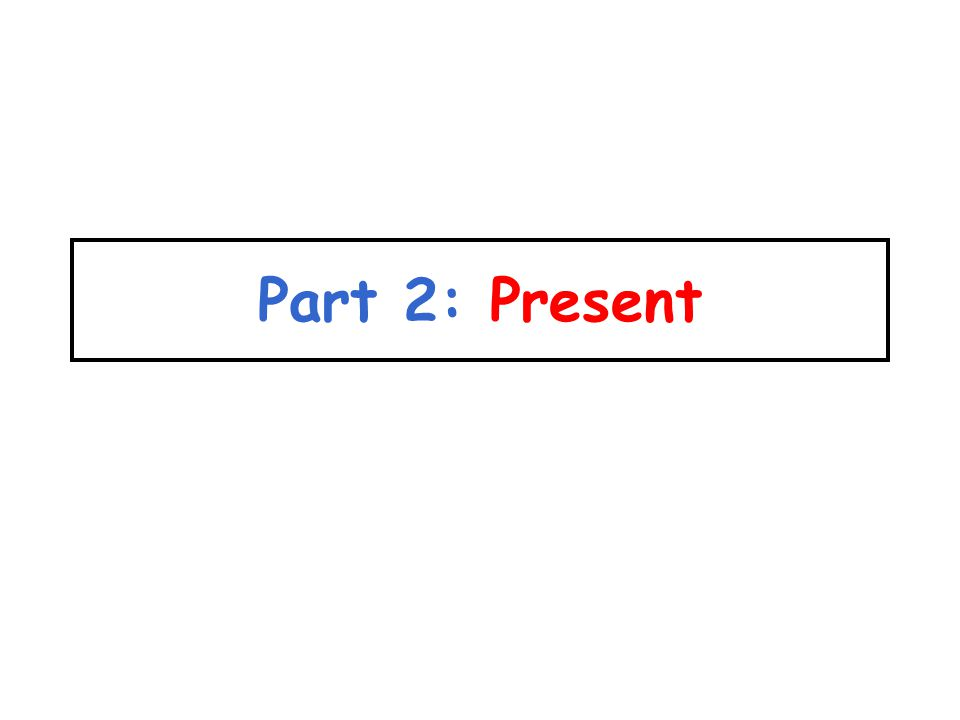 Part 2: Present