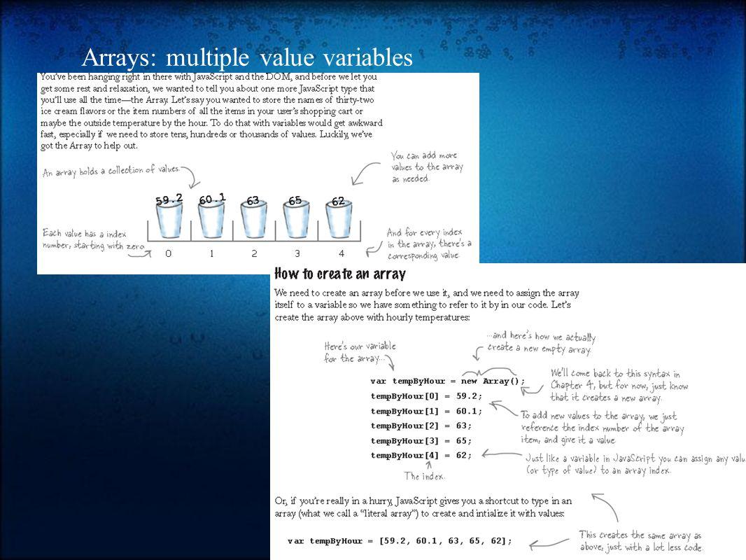 Arrays: multiple value variables