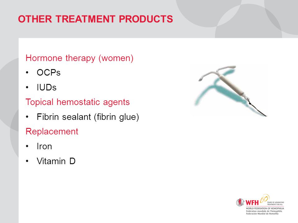 OTHER TREATMENT PRODUCTS Hormone therapy (women) OCPs IUDs Topical hemostatic agents Fibrin sealant (fibrin glue) Replacement Iron Vitamin D