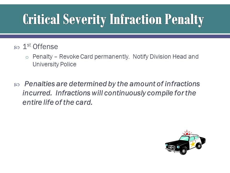  1 st Offense o Penalty – Revoke Card permanently.