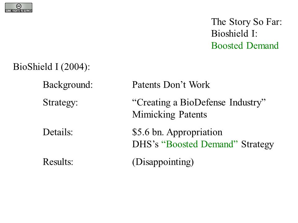 The Story So Far: Bioshield I: Boosted Demand BioShield I (2004): Background: Patents Don't Work Strategy: Creating a BioDefense Industry Mimicking Patents Details:$5.6 bn.