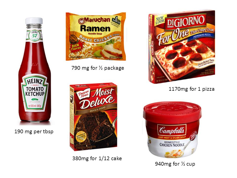 190 mg per tbsp 790 mg for ½ package 380mg for 1/12 cake 1170mg for 1 pizza 940mg for ½ cup