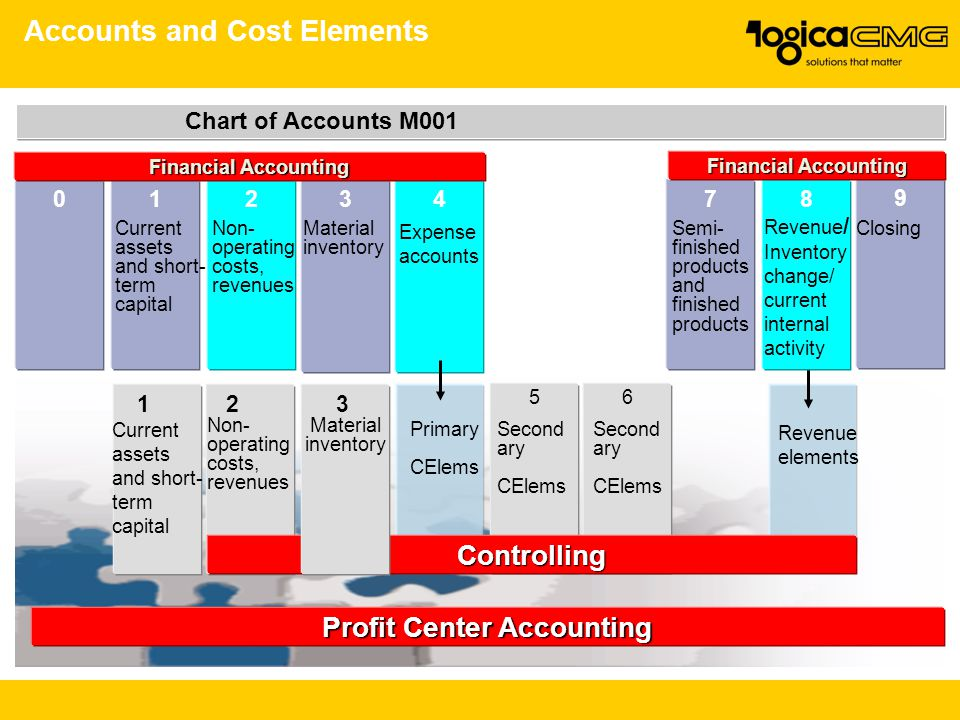 Accounts and Cost Elements Profit Center Accounting Chart of Accounts M001 Primary CElems 56 Second ary CElems Second ary CElems Revenue elements 0123