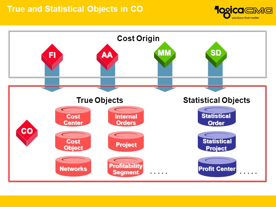 True and Statistical Objects in CO ProfitabilitySegment InternalOrdersCostCenter AA CO FI Project CostObject Networks True ObjectsStatistical Objects.
