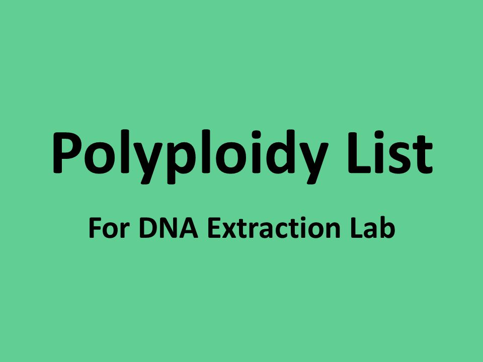 Polyploidy List For DNA Extraction Lab