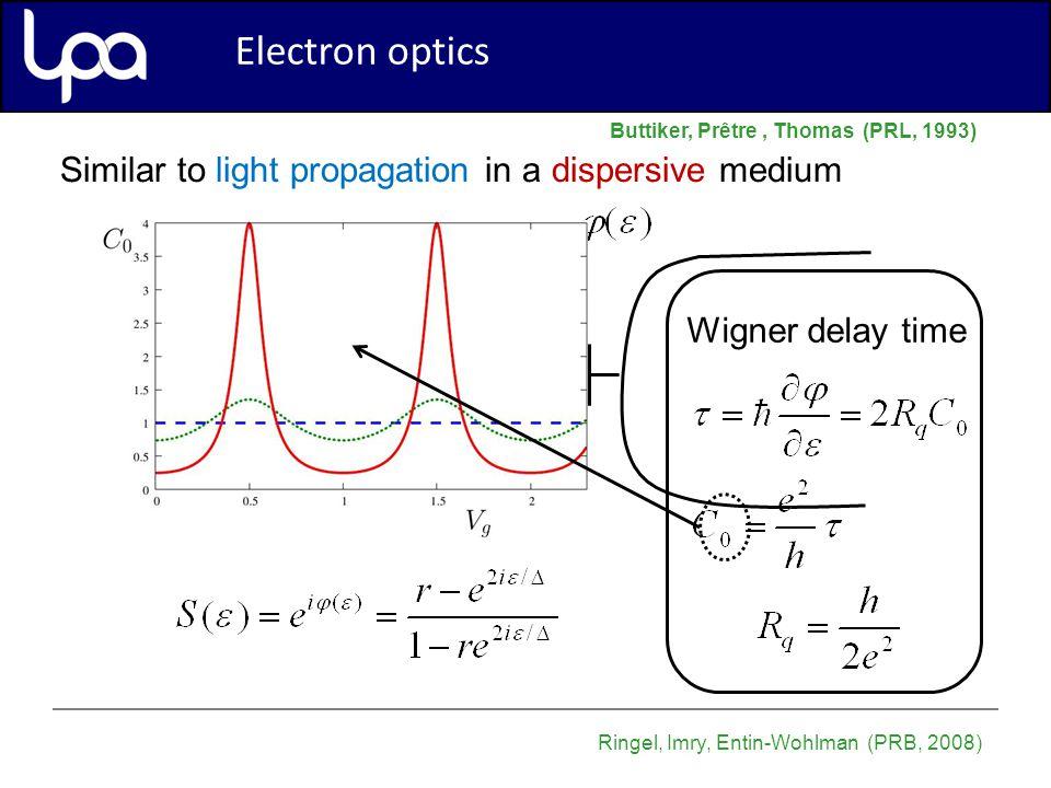 Electron optics Similar to light propagation in a dispersive medium Buttiker, Prêtre, Thomas (PRL, 1993) Ringel, Imry, Entin-Wohlman (PRB, 2008) Electron optics Wigner delay time