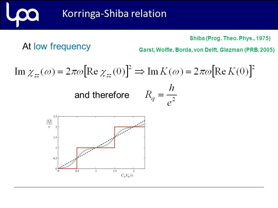 Korringa-Shiba relation At low frequency and therefore Shiba (Prog.