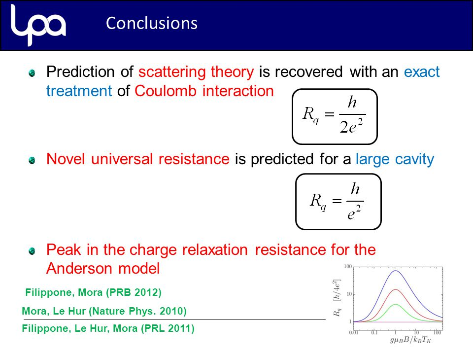 Conclusion Prediction of scattering theory is recovered with an exact treatment of Coulomb interaction Novel universal resistance is predicted for a large cavity Peak in the charge relaxation resistance for the Anderson model Mora, Le Hur (Nature Phys.