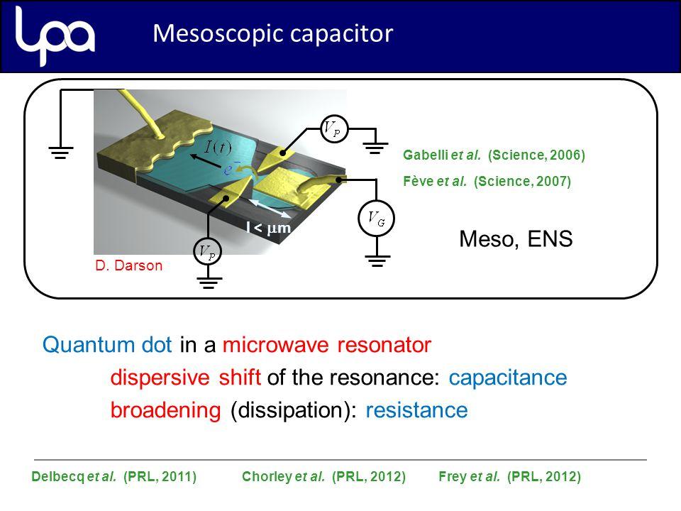 Mesoscopic Capacitor l <  m Gabelli et al. (Science, 2006) Fève et al.