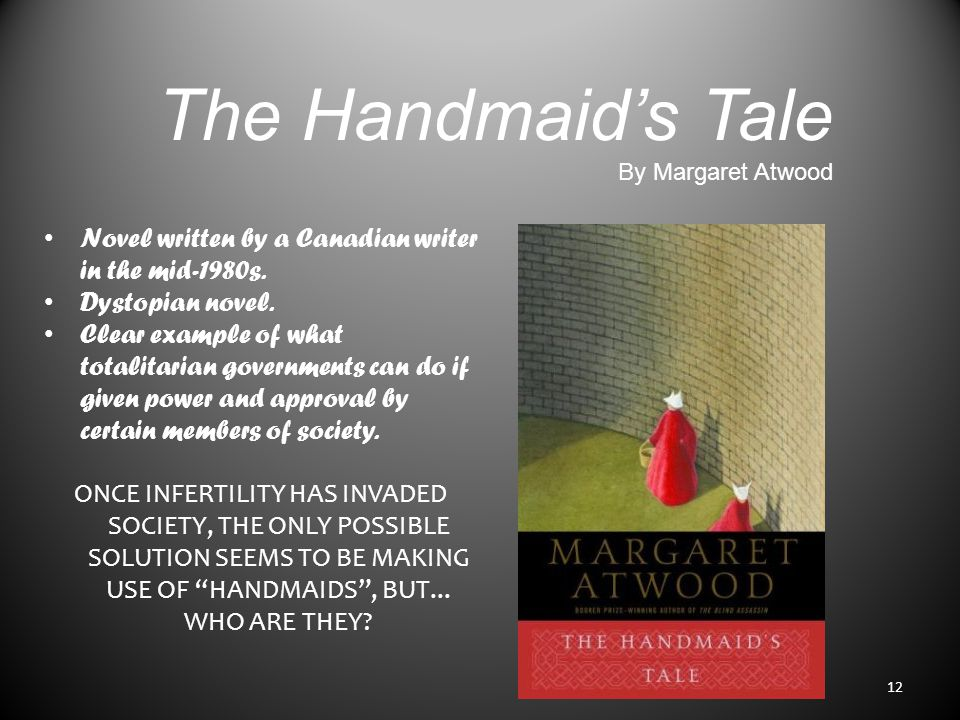 The Handmaid's Tale By Margaret Atwood Novel written by a Canadian writer in the mid-1980s.