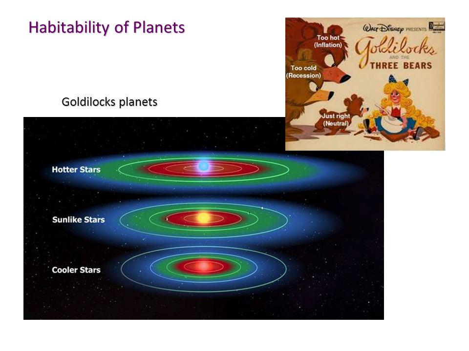 Habitability of Planets Goldilocks planets