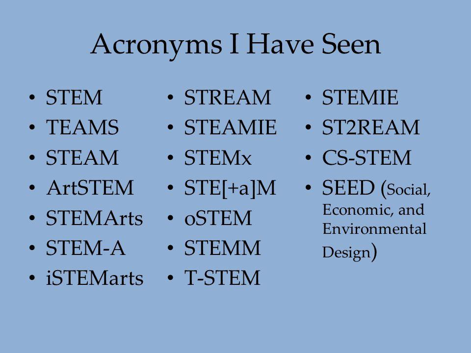 Acronyms I Have Seen STEM TEAMS STEAM ArtSTEM STEMArts STEM-A iSTEMarts STREAM STEAMIE STEMx STE[+a]M oSTEM STEMM T-STEM STEMIE ST2REAM CS-STEM SEED (