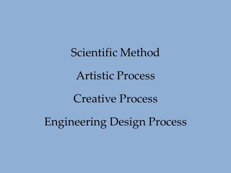 Scientific Method Artistic Process Creative Process Engineering Design Process