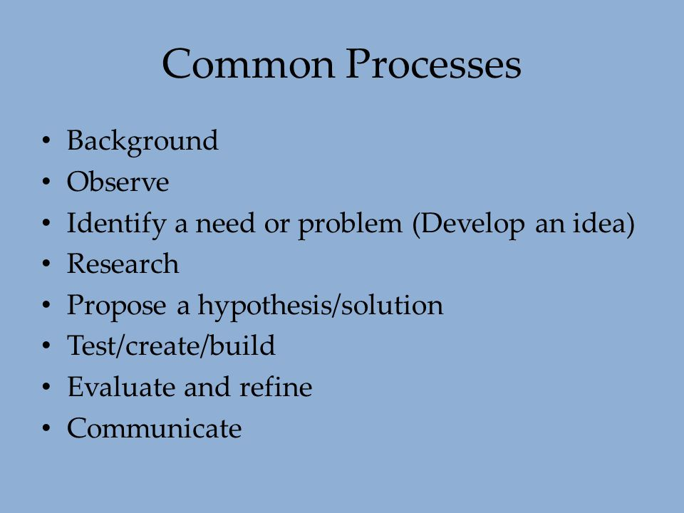 Common Processes Background Observe Identify a need or problem (Develop an idea) Research Propose a hypothesis/solution Test/create/build Evaluate and