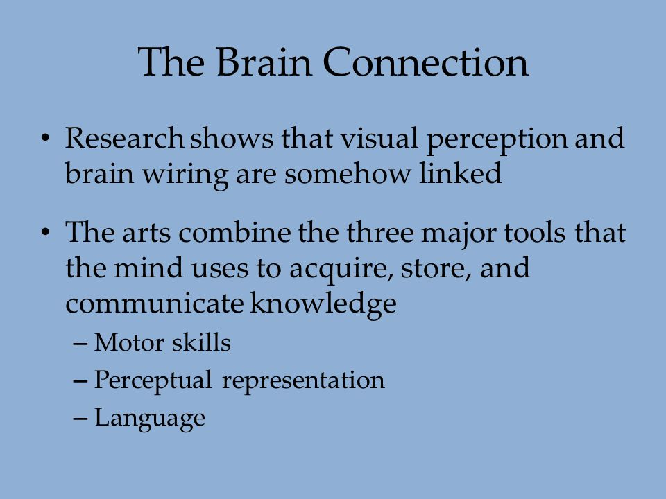 The Brain Connection Research shows that visual perception and brain wiring are somehow linked The arts combine the three major tools that the mind us