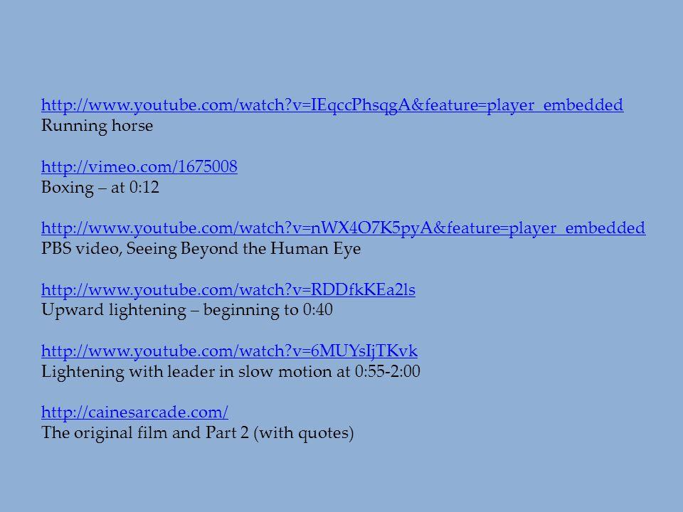 http://www.youtube.com/watch?v=IEqccPhsqgA&feature=player_embedded Running horse http://vimeo.com/1675008 Boxing – at 0:12 http://www.youtube.com/watc
