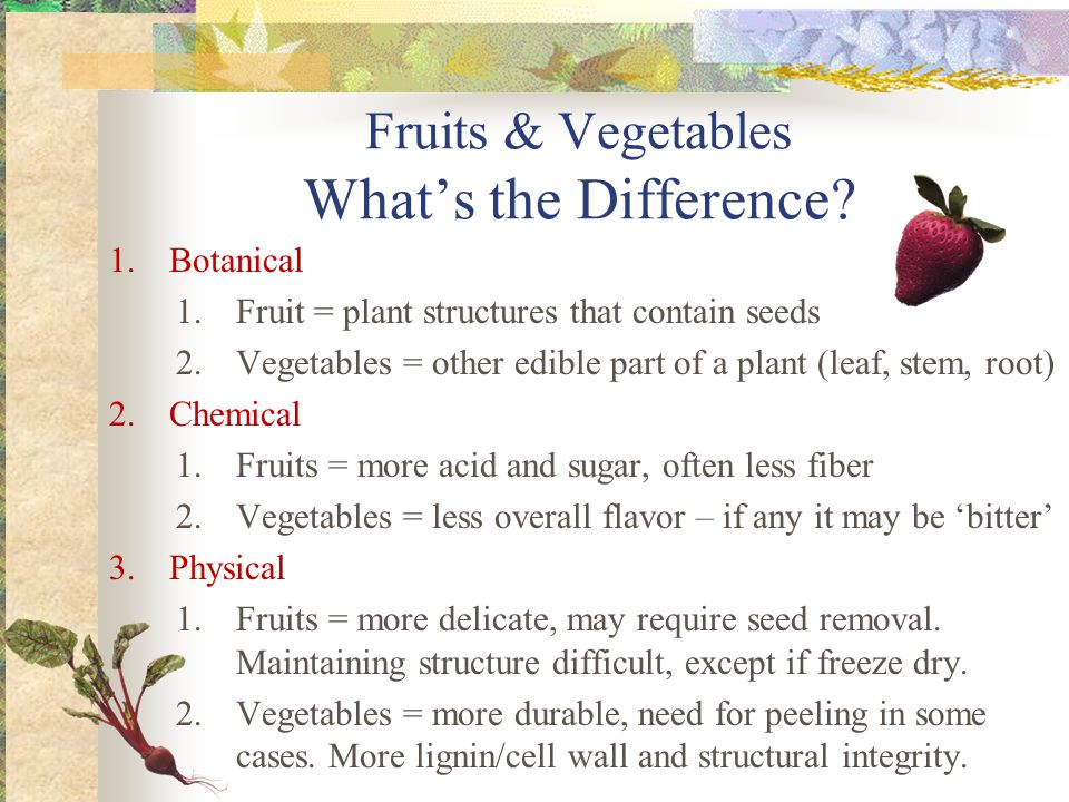 Fruits & Vegetables What's the Difference.