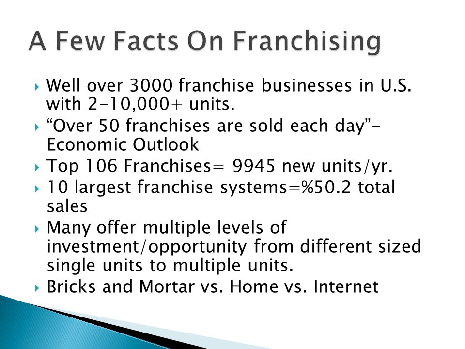  Franchise Opportunities