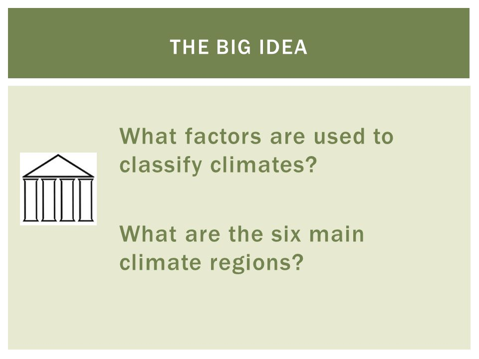 What factors are used to classify climates? What are the six main climate regions? THE BIG IDEA