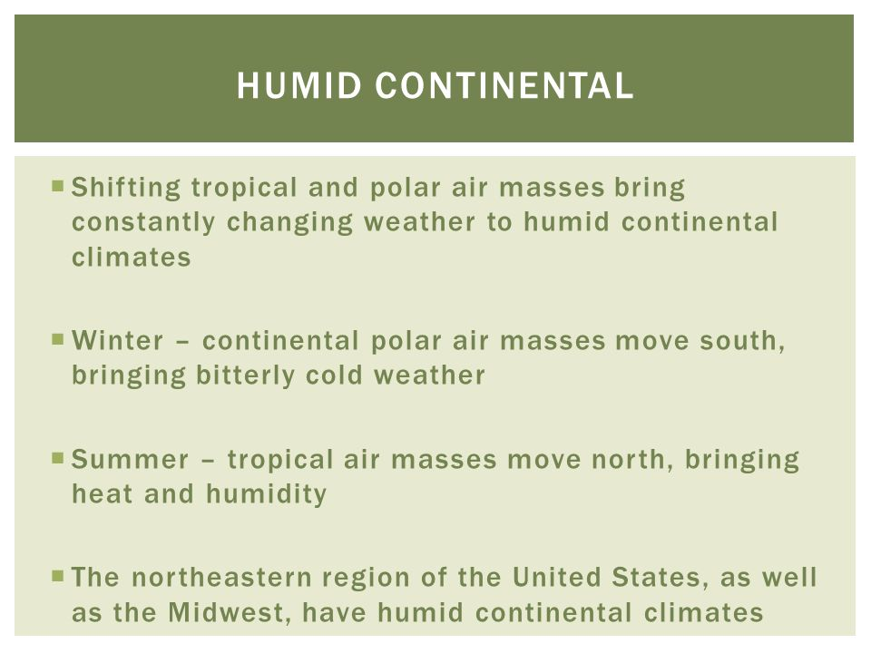  Shifting tropical and polar air masses bring constantly changing weather to humid continental climates  Winter – continental polar air masses move