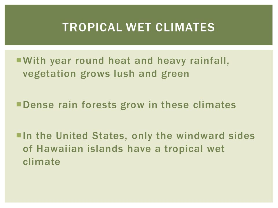  With year round heat and heavy rainfall, vegetation grows lush and green  Dense rain forests grow in these climates  In the United States, only th
