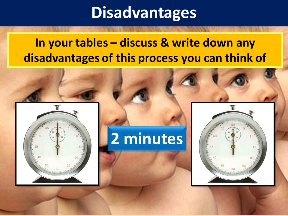 Disadvantages In your tables – discuss & write down any disadvantages of this process you can think of Disadvantages A reduced 'gene pool' - vulnerability to new diseases as they all have identical genes Moral issues?