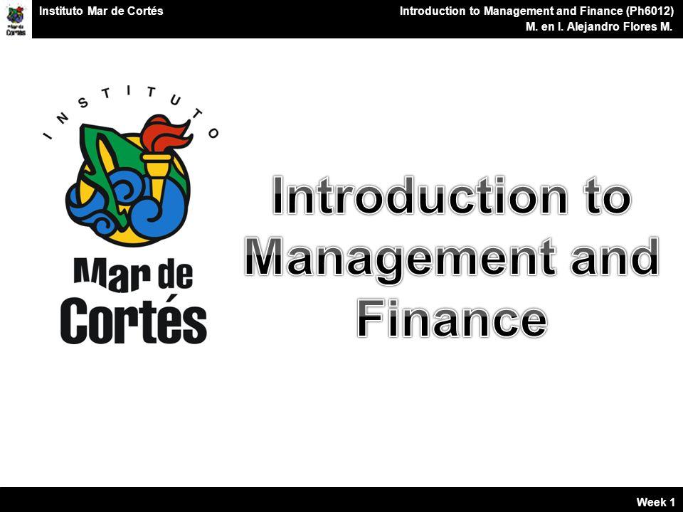 Planes Financieros Introduction to Management and Finance (Ph6012) M.