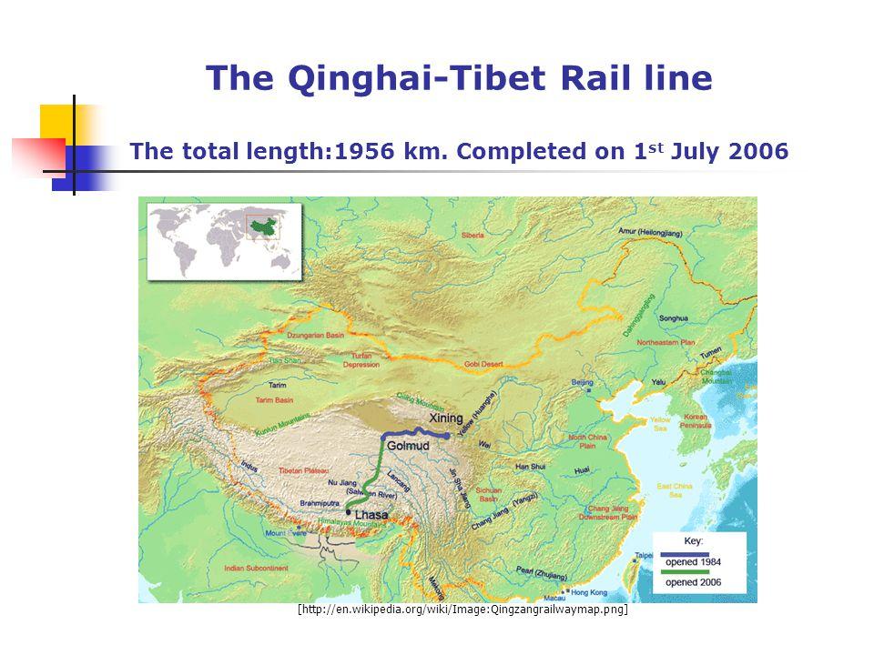 The Qinghai-Tibet Rail line The total length:1956 km.