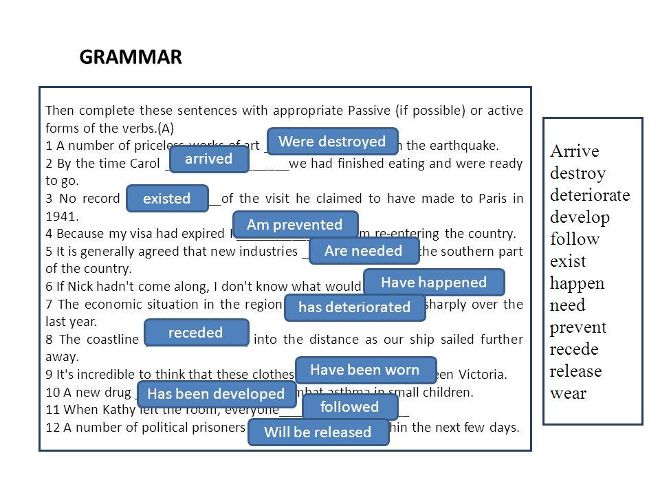 GRAMMAR Then complete these sentences with appropriate Passive (if possible) or active forms of the verbs.(A) 1 A number of priceless works of art ___