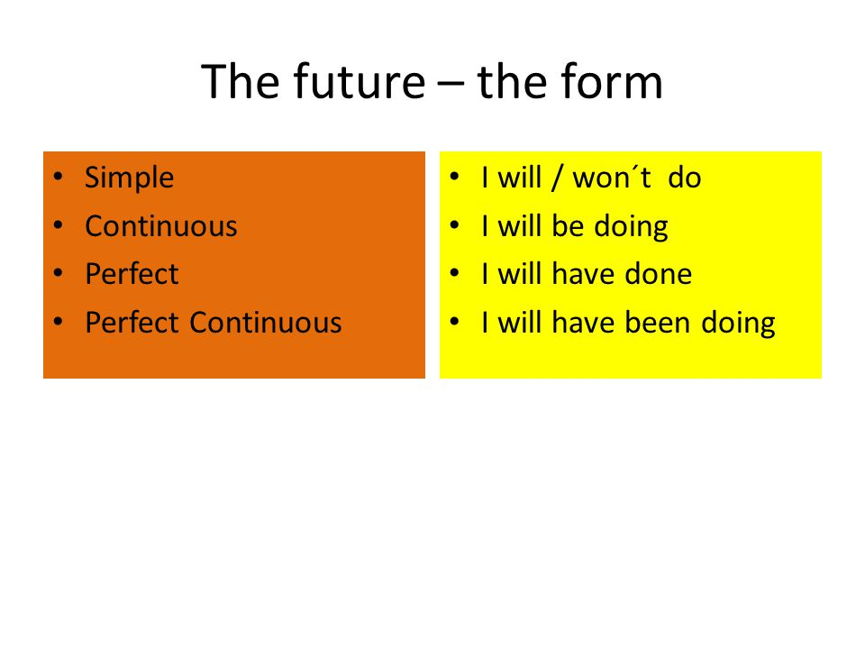 The future – the form Simple Continuous Perfect Perfect Continuous I will / won´t do I will be doing I will have done I will have been doing