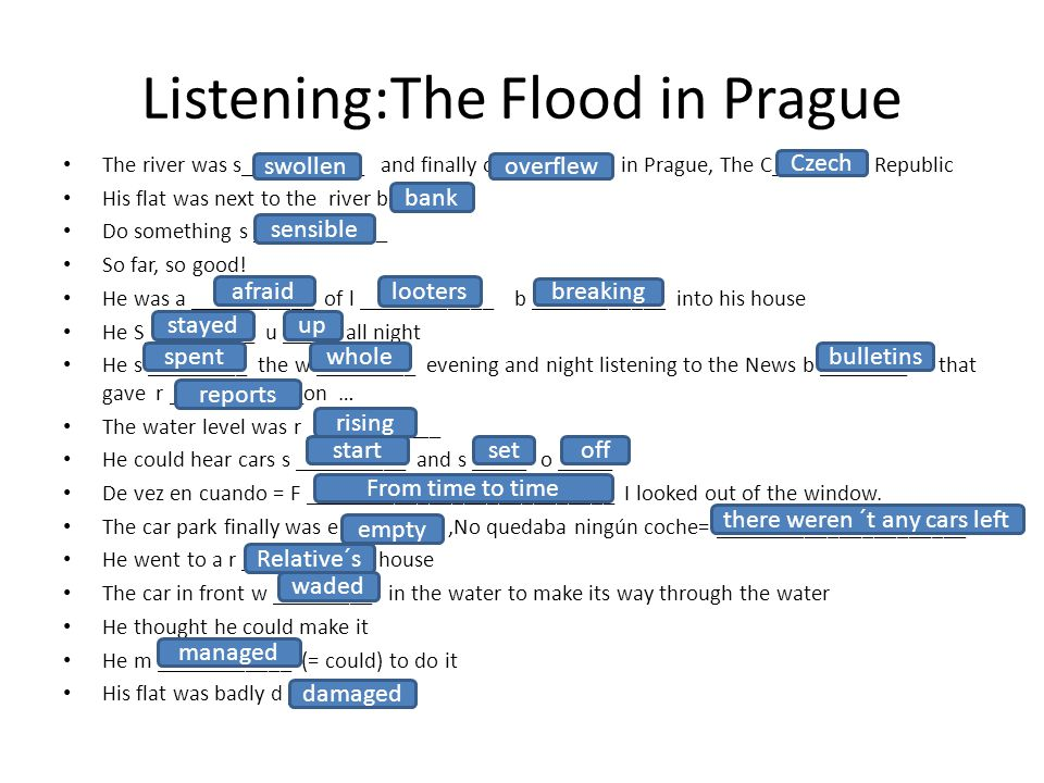 Listening:The Flood in Prague The river was s___________ and finally o __________ in Prague, The C______ Republic His flat was next to the river b ___