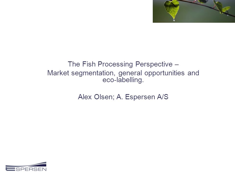 The Fish Processing Perspective – Market segmentation, general opportunities and eco-labelling.