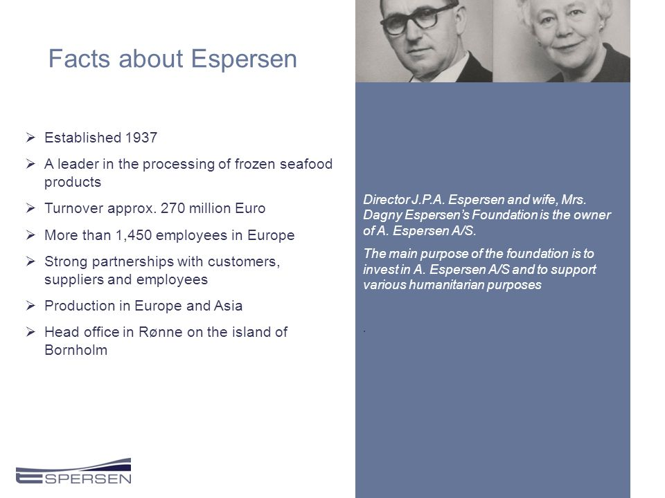 Facts about Espersen  Established 1937  A leader in the processing of frozen seafood products  Turnover approx.