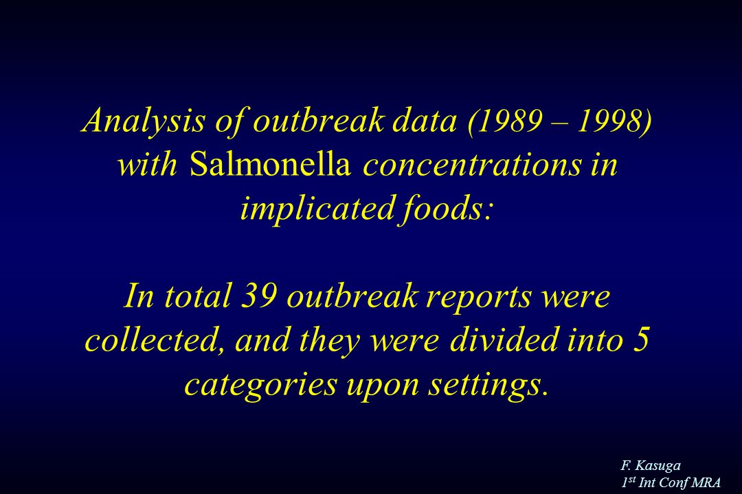 F. Kasuga 1 st Int Conf MRA Analysis of outbreak data (1989 – 1998) with Salmonella concentrations in implicated foods: In total 39 outbreak reports w